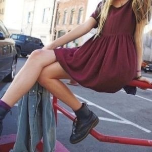 Brandy Melville Nicolette Maroon Dress